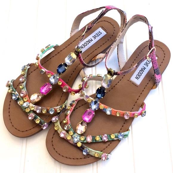 630641c8e271d4 NWOT Steve Madden B Jeweled gladiator sandal flats.  M 5b3505e1c2e9fe6ef8cd46a8